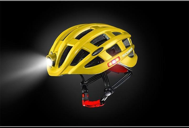 yellow bicycle helmet with light